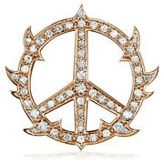 Large Diamond Guarded Peace Sign Charm 1.75ct 1 1/4 Inch In 18k Pink Rose Gol