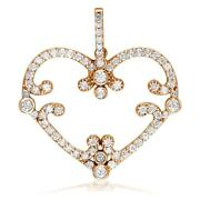 Vintage Style Open Diamond Heart Pendant 1.08ct In 18k Pink Rose Gold