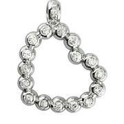 Large Size Open Diamond Bead Ball Heart 1.55ct In 14k White Gold