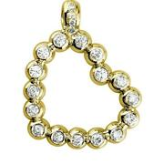 Large Size Open Diamond Bead Ball Heart 1.55ct In 14k Yellow Gold
