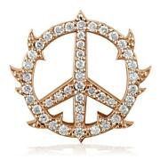 Medium Diamond Guarded Peace Sign Charm 0.75ct One Inch In 18k Pink Rose Gold