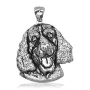 Doggy Portrait Charm With Black In 18k White Gold