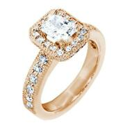 Halo Engagement Ring Setting For A Radiant Or Emerald Cut Diamond 0.71ct Sides