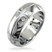 Mens Domed Wedding Band With Lines And Diamonds 0.40ct In 14k White Gold