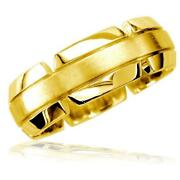 Virtu Mens 8mm Band In 18k Yellow Gold Satin Middle Polished And Notched Sides