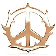 Large Guarded Peace Sign Charm 1.25 Inch In 18k Pink Rose Gold
