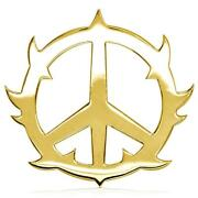 Large Guarded Peace Sign Charm 1.25 Inch In 18k Yellow Gold