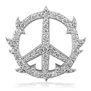 Medium Diamond Guarded Peace Sign Charm 0.75ct One Inch In 14k White Gold
