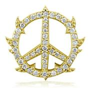 Medium Diamond Guarded Peace Sign Charm 0.75ct One Inch In 14k Yellow Gold