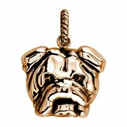 Large Bulldog Charm With Black 3797 In 18k Rose Pink Gold