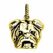 Large Bulldog Charm With Black 3797 In 18k Yellow Gold