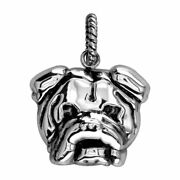 Large Bulldog Charm With Black 3797 In 18k White Gold