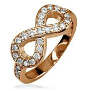 Diamond Infinity Ring In 14k Pink Gold 0.70ct With Wall