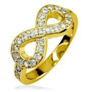 Diamond Infinity Ring In 14k Yellow Gold 0.70ct With Wall
