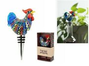 New Country Cottage Rooster Glass Bottle Stopper By Twine – Decorative