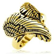Large Angel Heart Wings Ring With Black Wings Of Love 22mm In 14k Yellow Gold
