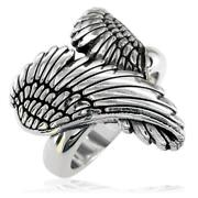 Large Angel Heart Wings Ring With Black Wings Of Love 22mm In 14k White Gold