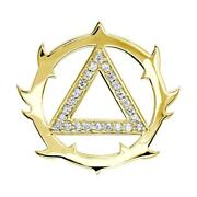 Tribal Look Diamond Aa Alcoholics Anonymous Sobriety Pendant, 0.40ct In 18k Yell