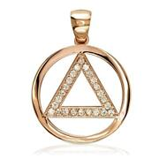 Diamond Aa Alcoholics Anonymous Sobriety Pendant, 0.40ct In 18k Pink, Rose Gold