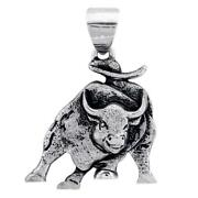 Wall Street Charging Bull Pendant Charm With Black In 14k White Gold