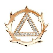 Tribal Look Diamond Aa Alcoholics Anonymous Sobriety Pendant, 0.40ct In 18k Pink
