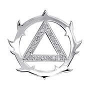 Tribal Look Diamond Aa Alcoholics Anonymous Sobriety Pendant, 0.40ct In 18k Whit