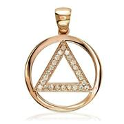 Diamond Aa Alcoholics Anonymous Sobriety Pendant, 0.40ct In 14k Pink, Rose Gold