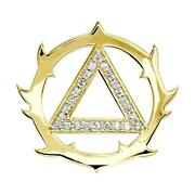 Tribal Look Diamond Aa Alcoholics Anonymous Sobriety Pendant, 0.40ct In 14k Yell