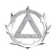 Tribal Look Diamond Aa Alcoholics Anonymous Sobriety Pendant, 0.40ct In 14k Whit