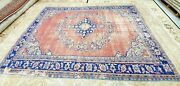 Rare Antique 1930-1940and039s Wool Pile Natural Dye Distressed Oushak Area Rug 7x10ft