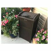 30 Gallon Trash Can Outdoor Resin Wicker Tall Waste Basket With Lid Durable Yard