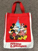 Tokyo Disneyland 25th Anniversary Mickey Minnie Mouse Tote Bag Red F/s From Jpn