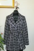 3 Sisters Jacket S2-4 Rhinestone Button Belted Trench Coat Usa 14218 3s185