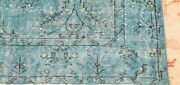 Primitive Vintage 1940-1950and039s Teal Blue Over Dyewool Pile Oushak Rug 5and0395andtimes9and039