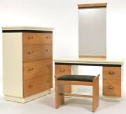 Donald Deskey Art Deco Amodec Chest Of Drawers Vanity Mirror And Bench Restored