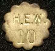 H.e.w. Pickerand039s Check Canning Token 10 Admiral Md Coin Medal Henry Emil Wagner