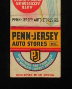 1940s Penn-jersey Auto Stores Motor Oil Can Old Car Advertising Matchbook