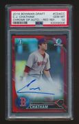 Psa 10 C.j. Chatham 2016 Bowman Chrome Draft Red Refractor Auto Rc /5 Red Sox