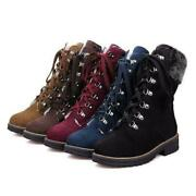 2020 Womens Fashion Winter Fur Trim Lace Up Chunky Low Heel Military Ankle Boots