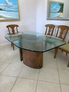 Custom Made Copper Dining Table. 2-piece Copper Base And 1-inch Thick Glass Top.
