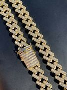 Mens 18mm Baguette Prong Cuban Chain 14k Gold Over Solid 925 Silver Heavy Hiphop