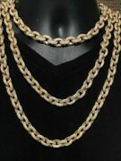 Mens Thick Heavy Rolo Chain 14k Gold Over Solid 925 Sterling Silver Diamonds Icy