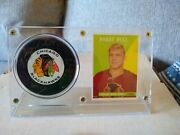 Bobby Hull Auto Signed Trench Puck Reprint Rookie In Holder