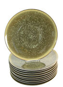 Set Of 10 Jaune De Chrome Song 12.25 Charger Plates Limoges Olive Green And Gold