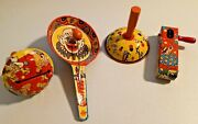 4x Vintage 1950s Tin Noise Maker Party Musical Toy Made In Usa -- 1027