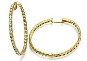 2.1 Ctw Natural Diamond Solid 14k Yellow Gold Inside Out Hoop Earrings 40mm 1.6