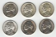 Six 6 Jefferson Nickels 4 Are Silver 1942p 1943s 1945px2 1946-s 1947-s