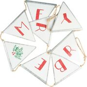 Rustic Country Primitive Christmas Be Merry Metal Pennant Banner Garland