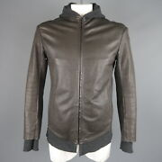 Isaac Sellam L Dark Gray Leather Extended Liner Hooded Jacket