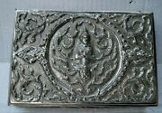 Antique Siam Thai Goddess Sterling Silver Repousse Jewelry Box 356gr